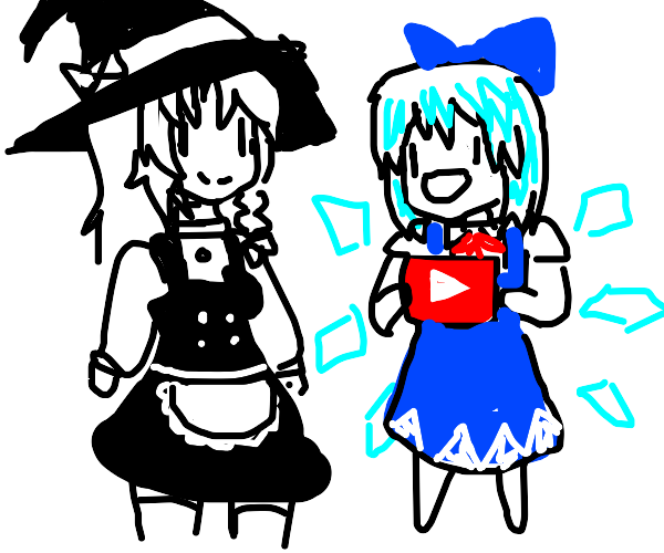 Witch stands next to cirno with YouTube logo