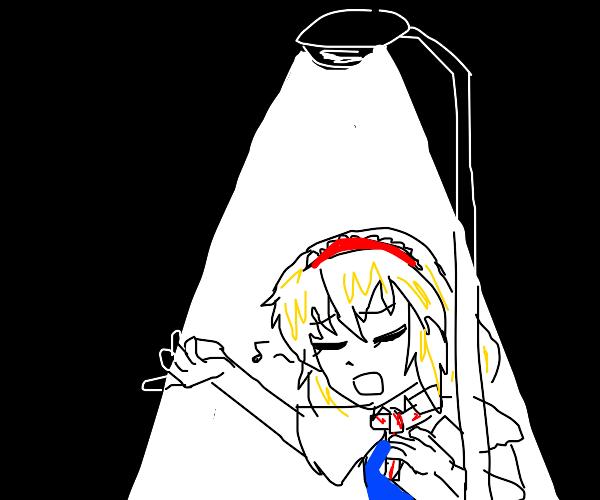 pretty lady sings under a streetlamp