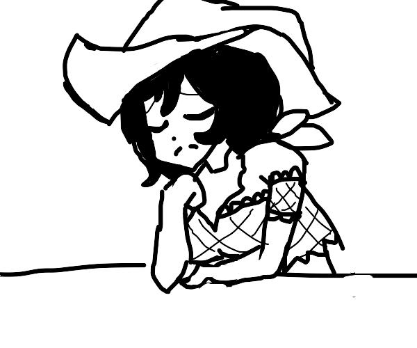 Sad cowgirl.