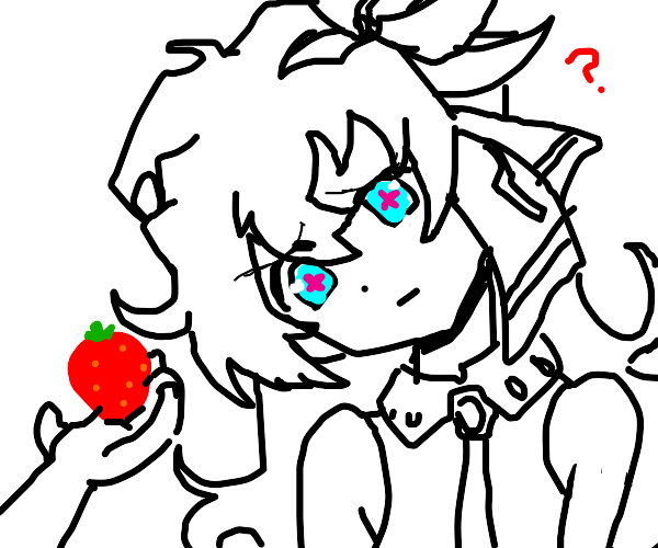 giving a strawberry to a confused girl