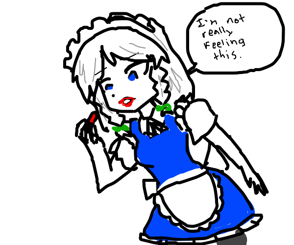 Maid isn't into red lipstick