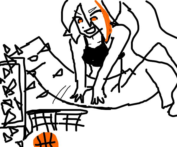 Anime girl scores in basketball