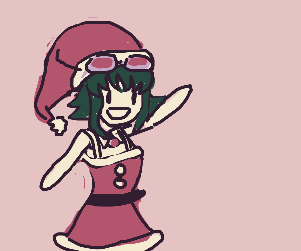 girl with green hair in Christmas clothes