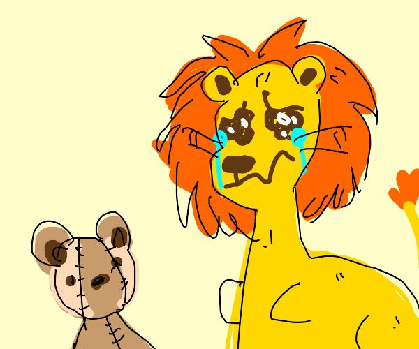 Lion wants to hug his teddy bear