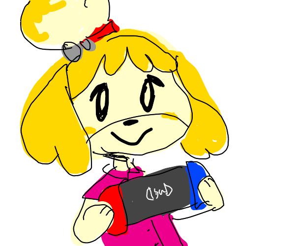 A cute little dog plays video games