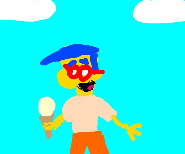 Milhouse holding an ice cream cone
