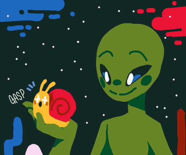 alien brings snail friend to home planet