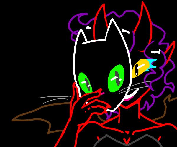 Lady demon wearing cat mask