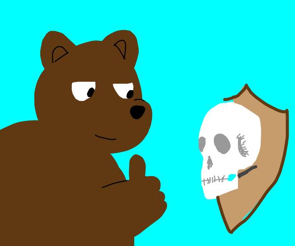Bear loves his human skull trophy