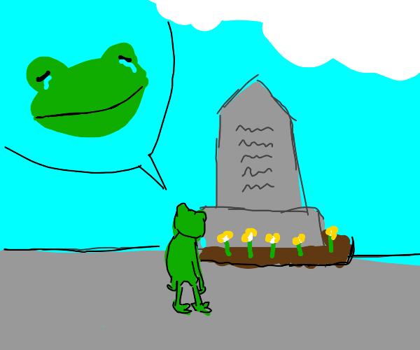 Frog is sad at memorial