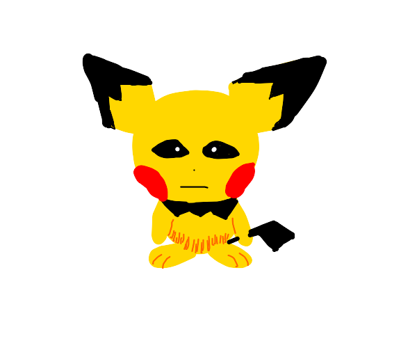 Pichu stares at you with cold pitch dark eyes