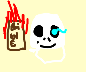 Skeleton w/ blue eye sets bible on fire