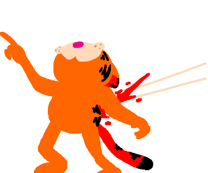 Garfield gets shot in the back with an arrow