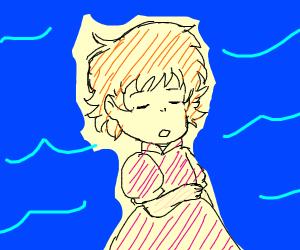 Ponyo sleeping in the ocean
