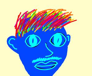blue man, rainbow hair