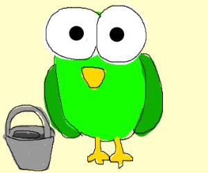 green bird with a bucket