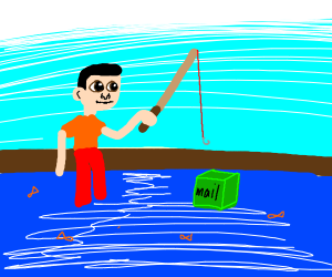 Guy fishing for mail-box.
