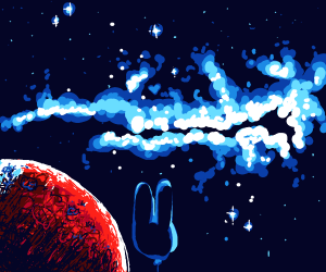 wow... mars + bunny baloon watching star dust
