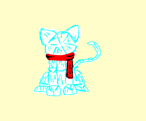 Glass pane cat with scarf