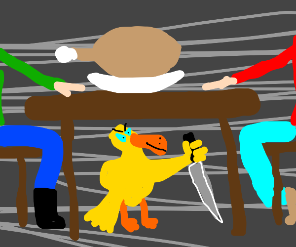 duck holding a knife under a table