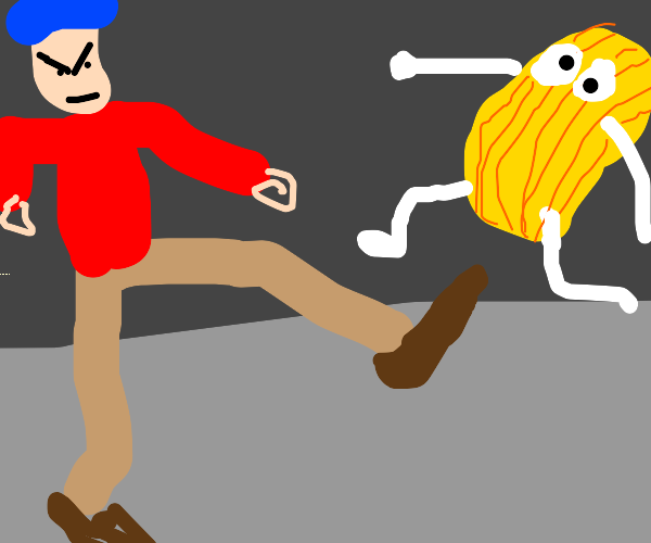 Man kicks living potato chip
