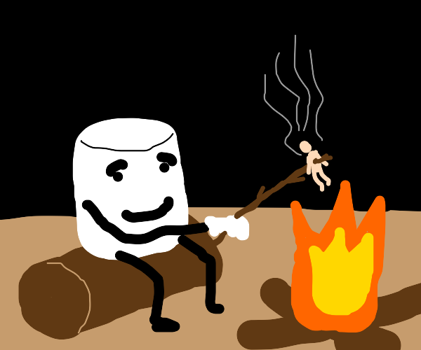 marshmallow has stick figure in fire-payback
