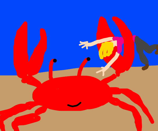 crabman,crabman,holding a lady as he can