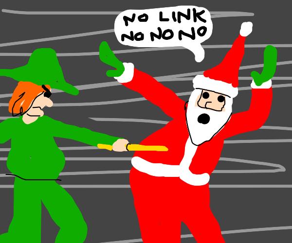 link mad, santa worried