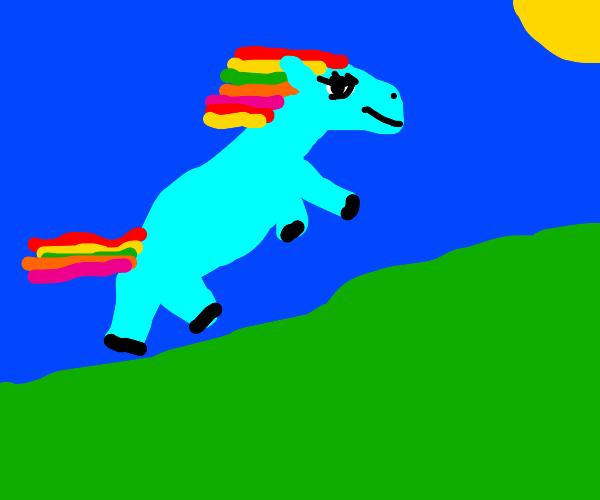 rainbow dash flies into the sun