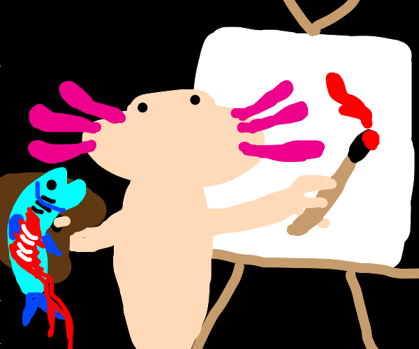 Axolotyl painting with fish blood