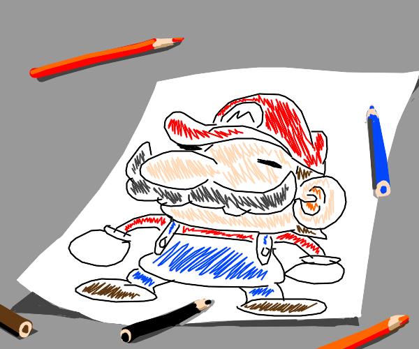 a drawing of Mario
