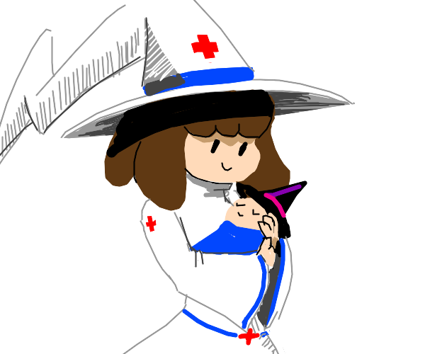 Witch with a witch baby and also a nurse