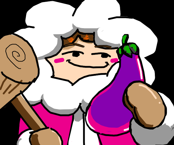 one of the ice climbers holing a eggplant