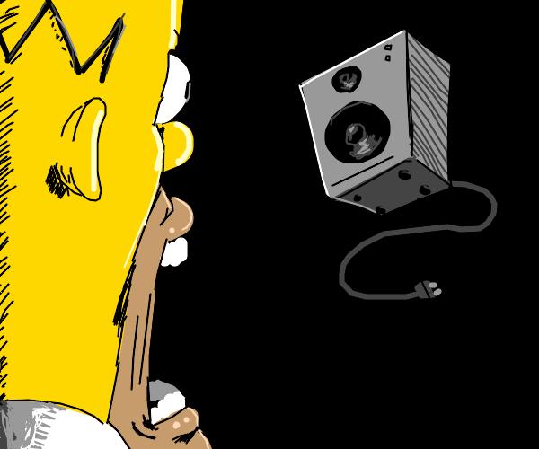 homer simpson surprised by a speaker