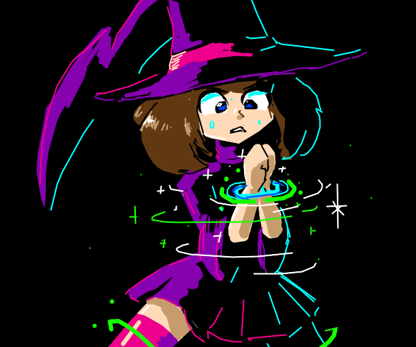 anime witch is handcuffed with magic