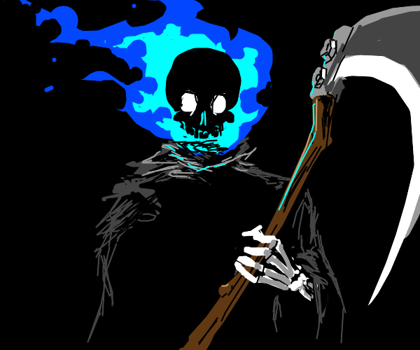 Grim reaper lights his head on fire