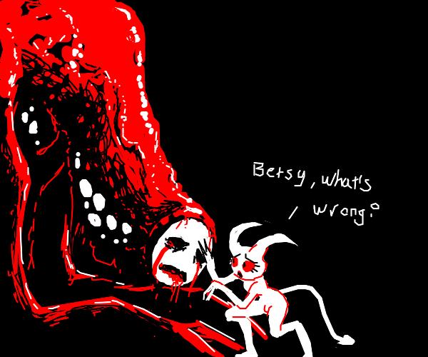 Demon girl's big pet is very sad
