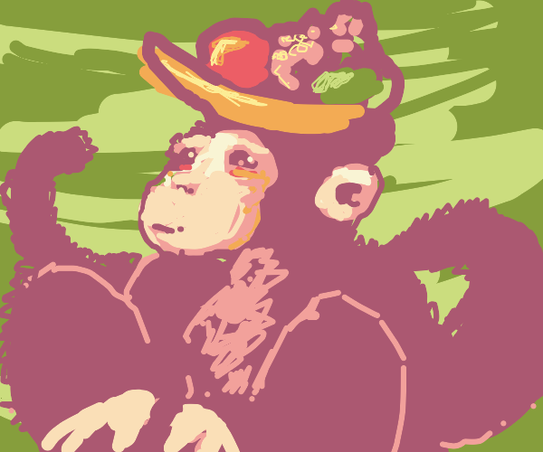 Monkey with a Fruit Bowl Hat