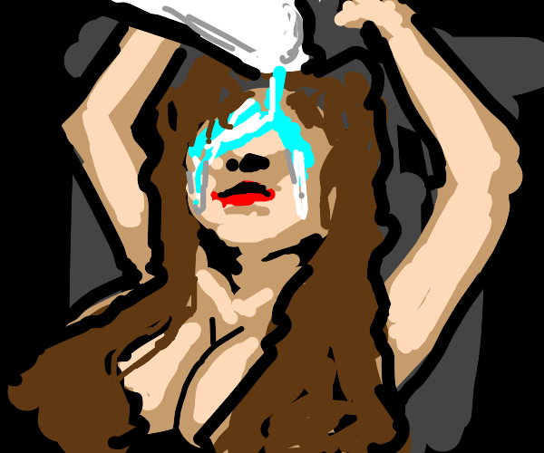 Naked woman pours bleach to her eyes