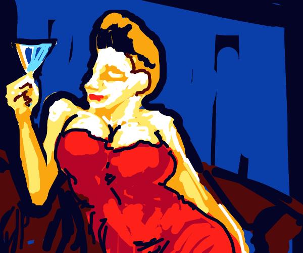 Wealthy figure enjoying wine