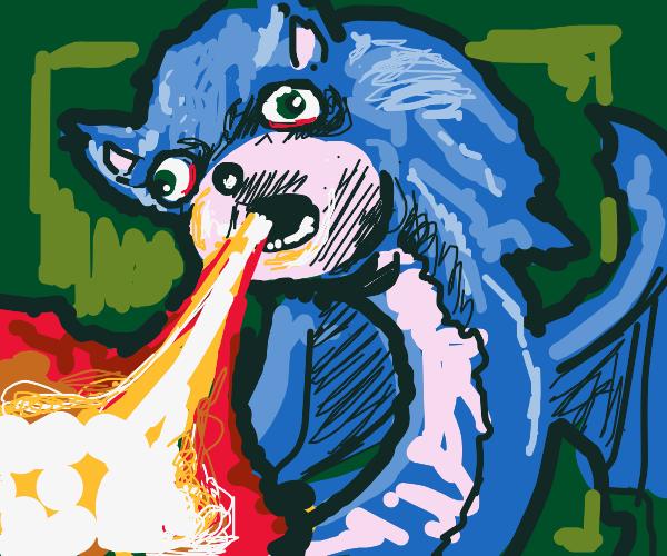 Sonic-dragon hybrid breathing fire