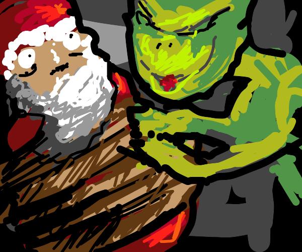 Grinch kidnaps Santa