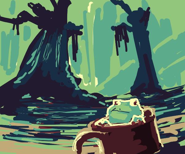 Frog sails a bog in a mug