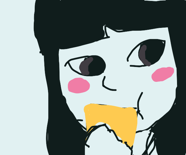japanise girl with bread