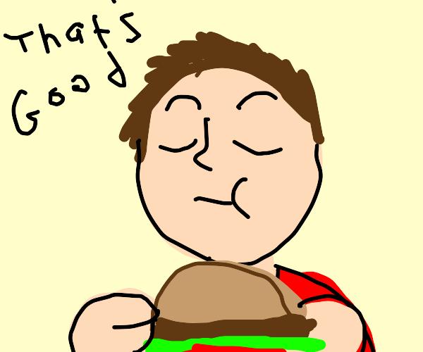 Dude enjoying a burger