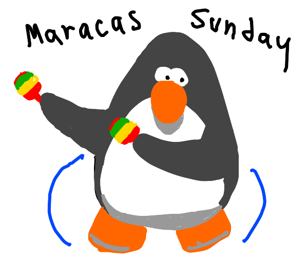 penguin shaking maracas for Sunday