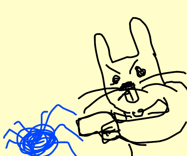 bunny holds gun at blue spider