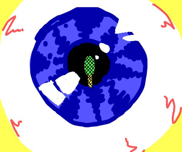 Popsicle reflection on eyeball