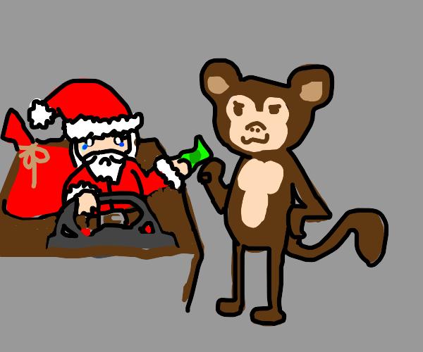 Santa bribes monkey with honey