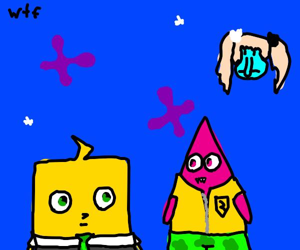 Hajime as spongebob and souda as Patrick